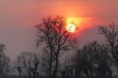 Wieczór zapada na Urzeczu, okolice wsi Obórki, nad brzegiem Wilanówki, niedaleko ujścia Jeziorki do Wisły, gmina Konstancin-Jeziorna